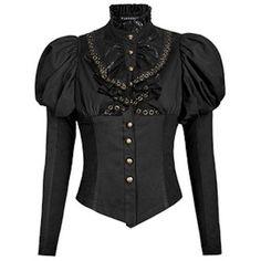 Black Long Bell Sleeve Gothic Steam Punk Corset Shirt Blouse Women SKU-11407090