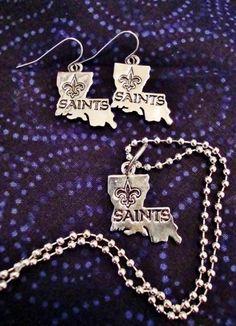 New Orleans Saints Jewelry Set (Fleur Louisiana) | Rennaize_Creations_and_Salvage - Jewelry on ArtFire