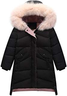 4afa5e8565351 Child Kid Girl Simple Solid Hooded Thick Winter Parka Mid Long Duck Down  Puffer Padded Jacket