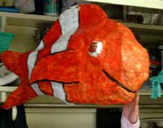 relief sculpture from paper mache (can be any subject, not just fish)