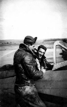 Sgt. Richard Nolan stands on the wing of the P-47 Thunderbolt fighter he maintained for 2nd Lt. Mike McGraph, in the cockpit, as he gets ready to take off on a mission in Europe during World War II. (Photo provided by Richard Nolan.)