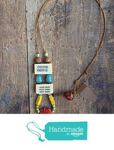 ART::WEAR Necklace by Cherie Lester, Vintage Mahjong, Coral, Czech Crystal, Stone & Antiqued Brass Beads on Genuine Natural Leather Cord. from ART::WEAR Necklaces by Cherie Lester https://www.amazon.com/dp/B01MXWTLV4/ref=hnd_sw_r_pi_dp_.ztHyb5B3964P #handmadeatamazon