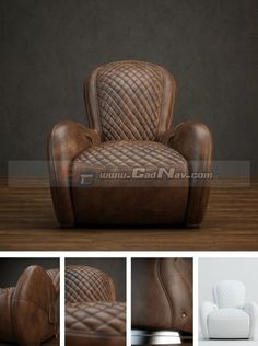 Leather Lounge Chair Sofa 3d model
