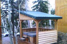 Centurion Homes built this great log gazebo in Timberlakes, Utah. Our clients own a beautiful cabin nestled in the mountains. When they purchased a hot tub, they needed a gazebo that went along wit. Pool Gazebo, Hot Tub Gazebo, Hot Tub Deck, Hot Tub Backyard, Backyard Pergola, Backyard Ideas, Pool Ideas, Patio Ideas, Garden Ideas