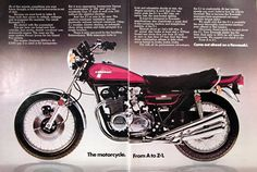 1973 Kawasaki Z-1 900cc original vintage advertisement. We took four years to rethink, redesign and re-engineer the machine. The result: the Kawasaki Z-1. The engine displaces 900cc's. At 8,500 rpm it is rated 82 horsepower. In 5th gear, you can accelerate from 15mph to well over 130 without the slightest shudder. The Z-1 is the most thoroughly road-tested machine ever offered in this country. Come out ahead on a Kawasaki.