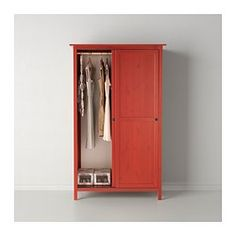 HEMNES Wardrobe with 2 sliding doors - red - IKEA Could we use this free standing in the living room near the TV area or on the opposite side near the sliding door? It could be placed in a corner. Much less expensive than custom cabinetry. It would hold the vacuum plus other items. I kind of like the idea of a touch of red to play off the other neutrals.
