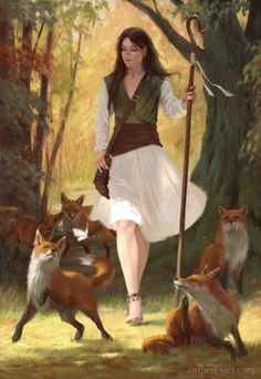 """Malidea"" The poor towns girl with a pure soul and heavy heart walking the forest with her only companies only to be seen by a huntsmen"