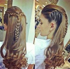 15 Long Hair Braids Styles: #1. Long Crown Braid Hairstyle with Curly Ends