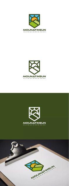Mountain and Sun Logo Template AI, EPS