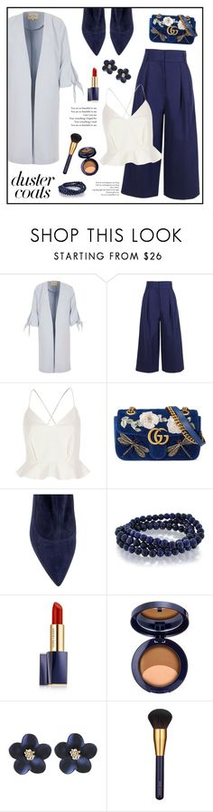 """""""Duster Coat!"""" by diane1234 ❤ liked on Polyvore featuring River Island, TIBI, Gucci, Eugenia Kim, Bling Jewelry and Estée Lauder"""