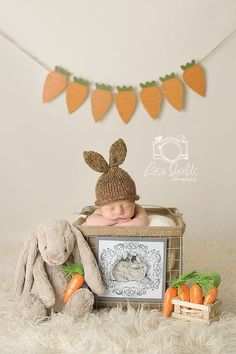 Baby's Easter Photos, Carrot Garland, Basket, Crochet Bunny Hat #2014 #easter #photos #props www.loveitsomuch.com