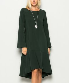 Another great find on #zulily! Olive Bell-Sleeve Ruffle-Hem Midi Dress #zulilyfinds