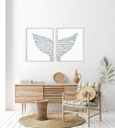 Whale Tail Modern Coastal Illustration Set of 2 Wall Art Print or Canvas
