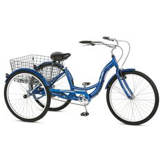 A tisket, a tasket, run errands with a basket. Take a break from your gas guzzler and cruise around town on a three–wheeled Schwinn. Horn not included, but way necessary to up your street cred. Saddle-up to a new ride—old-school style in this retro cruiser. You'll be the envy of gas-guzzlers everywhere.