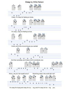Crazy Ukulele Tabs Songs, Ukulele Fingerpicking Songs, Guitar Chords For Songs, Music Chords, Bass Guitar Lessons, Lyrics And Chords, Guitar Tabs, Mandolin Lessons, Reading Sheet Music