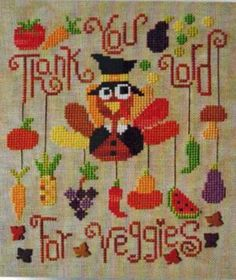 Don't be a jive turkey with these turkey inspired cross stitch patterns: Eat Your Veggies