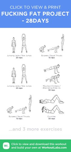 FUCKING FAT PROJECT - 28DAYS – click to view and print this illustrated exercise plan created with #WorkoutLabsFit