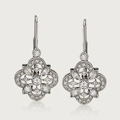 Kwiat Clover Collection 1.00 Carat Total Weight Diamond Drops in 18-Karat White Gold . Leverback Earrings (767554) | Sidney Thomas