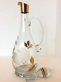 Retro Romanian Crystal Decanter w Stopper Deep Etched Flowers and Gold Accents