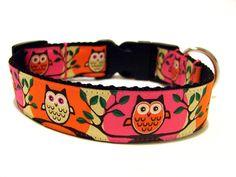 Retro Dog Collar Pink and Orange Owls