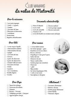 liste pour la valise de maternité complète                                                                                                                                                                                 Plus