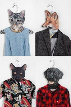 Animal clothes hanger, love those cats. Articles En Bois, Pet Clothes, Animal Clothes, Clothes Hangers, Art Plastique, Just For Fun, Visual Merchandising, Best Funny Pictures, Kids Room