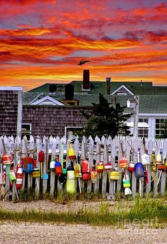 Sunset over picket fence and buoys in Cape Cod, Massachusetts.