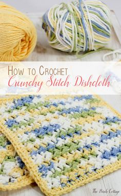 Crochet Tutorial Learn how to crochet! Crochet Crunchy Stitch Dishcloth Pattern from The Birch Cottage - Learn how to crochet crunchy stitch dishcloth pattern from Petals to Picots. The Birch Cottage shares some tips, supplies and crochet instructions! Crochet Simple, Free Crochet, Knit Crochet, Crochet Humor, Double Crochet, Crochet Towel, Crochet Potholders, Dishcloth Crochet, Crochet Afghans