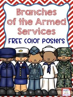 FREE color posters for each of the branches of the armed services. Perfect for Veterans Day or Memorial Day lessons!
