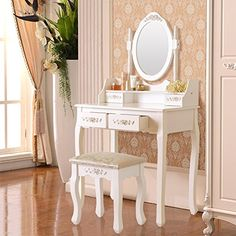 DFM Wood Makeup Vanity Table and Stool Set Makeup Desk Dressing table with 4 DrawerMirror * Check out the image by visiting the link.