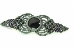 Macrame Bracelet with Onyx and Garnet Stones by Coco Paniora Salinas