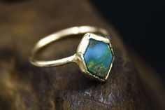 Natural American Mined Turquoise Engagement Ring in Solid Gold by the Fox and Stone Gemstone Engagement Rings, Solid Gold, Natural Gemstones, Alternative, Fox, Silver Rings, Turquoise, American, Nature