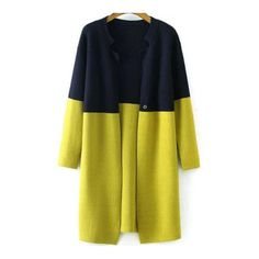 SheIn(sheinside) Navy Yellow Long Sleeve Loose Knit Cardigan ($33) ❤ liked on Polyvore featuring tops, cardigans, outerwear, coats, coats & jackets, sweaters, yellow, long sleeve tops, loose knit cardigan and long knit cardigan