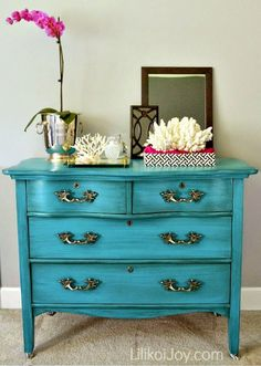 Antique Serpentine Dresser Gets Much Needed Makeover for Baby with Inspiration by a Blue Beauty by Prodigal Pieces www.prodigalpieces.com #prodigalpieces