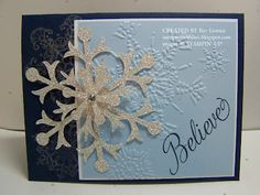 Snow Flurry Die Card Stamping With Bev Big Shot, Embossing Folder, Stampin Up Cards, Blue And Silver, Holiday Ideas, Snowflakes, Card Ideas, Card Stock, Christmas Cards