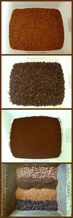 "Play Create Explore make Simple Brown Sensory Bins - chocolate scented rice, coffee beans, coffee grounds & dry beans ("",)"