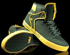 Green Bay Packers inspired kicks. Supra Vaider Green/Yellow 'Nubuck'