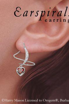 Orogem Garnet Heart & Diamond Accent Earspirals in 14k White Gold -