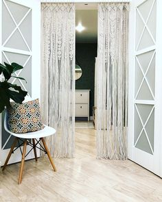 Large Macrame Door Curtains of 2 Panels Macrame Window