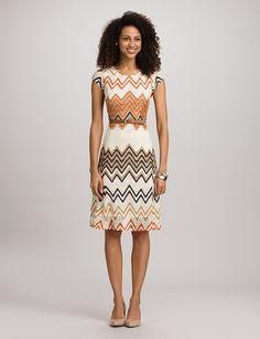 Misses | Dresses | Belted Chevron Dress | dressbarn