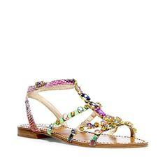 BJEWELED BRIGHT MULTI women's sandal flat ankle strap - Steve Madden
