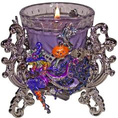 Purple Candle & Kirks Folly Divine Diva Candle Holder...look close to see the detail & the shades of shining purple...