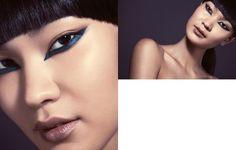 batom cor de boca nude escuro delineado azul invertido beleza oriental asiática revista lupa editorial de maquiagem