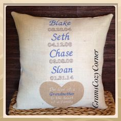 A personal favorite from my Etsy shop https://www.etsy.com/listing/189148527/family-pillow-cover-personalized