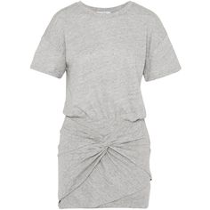 IRO Brelbloa knotted cotton-blend jersey mini dress ($225) ❤ liked on Polyvore featuring dresses, grey, mini dress, short grey dress, short dresses, slouch dress and grey dresses