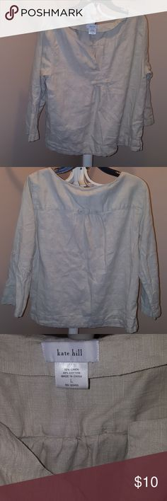 Kate Hill Linen Top Kate Hill Linen Top 52% Linen & 48% Cotton 3/4 Sleeve Kate Hill Tops