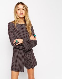 512bc3e03e3 Flare Sleeved Playsuit With Tie Back In Tile Print