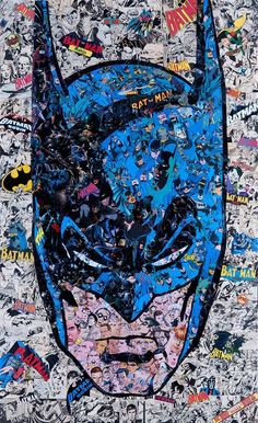 A Collage Portrait of Batman Pieced Together Using Cut-Up Pages From 'Batman' Comic Books Artist Mr. Garcin has created an amazing collage portrait of Batman pieced together using cut-up pages from actual Batman comic books. A limited number of prints are Poster Superman, Posters Batman, Batman Artwork, Batman Wallpaper, Batman Comics, Batman Comic Books, Im Batman, Comic Books Art, Dc Comics