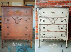 Chest of Drawers Makeover and Tutorial with Annie Sloan Country Grey Chalk Paint, Clear Wax and two colors of stain.