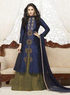 Navy Blue Cotton Long Jacket Style Lehenga 83065